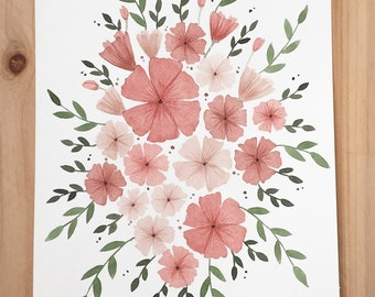 Original watercolor flower artwork