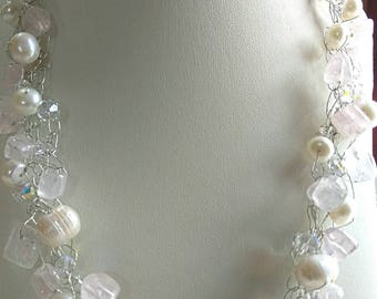 Wire Crochet gemstone 2 piece necklace set, crochet wire jewelry, birthday gift for, beaded necklace, pearls rose quartz Necklace, gift for