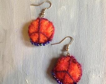 handmade woolen felt red orange peace earring