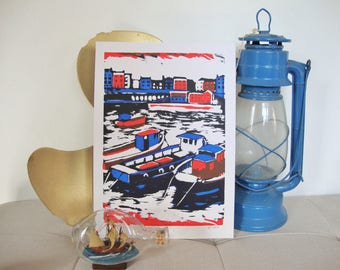 Tenby Habour. Fishing boats. Holidays in Wales. Original screenprint