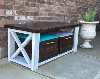 Farmhouse Style Coffee Table and Two Custom Crates