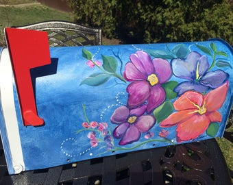 Hand Painted Mailbox, Unique Mailboxes, Artistic, Creative Mailbox, Decorative Art, Colorful Flowers, Vibrant Art For Your Mailbox