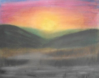 Avalon Sunrise - a blank card from an original pastel painting by the artist