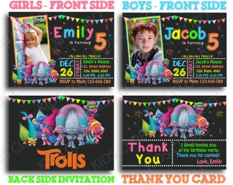 Trolls Invitation, Trolls Birthday Invite, Trolls Birthday Invitation, Trolls Birthday Party Invite,  Trolls Party Printable, Trolls Invite