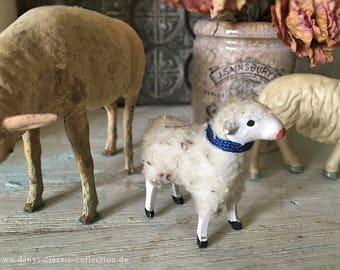 Wool sheep crib sheep figurine sheep vintage decoration brocante shabby chic german folk