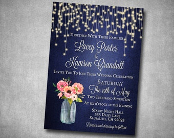 Wedding Invitation Navy Coral Pink Peach Floral Mason Jar String Lights Fairy Lights Rustic Barn Printable Digital I Customize For You