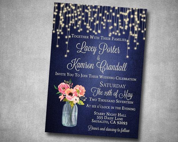 Navy And Peach Wedding Invitations: Wedding Invitation Navy Coral Pink Peach Floral Mason Jar