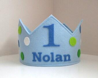 Wool Felt Crown Polka Dots, Birthday Crown, Boy Crown, First Birthday, Personalized, Velcro Closure, Photo Prop, Smash Cake