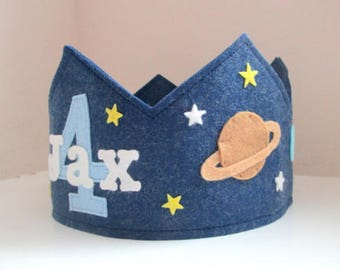 Space Birthday Crown, Solar System, Wool Felt Crown, Personalized, Velcro Closure, Smash Cake