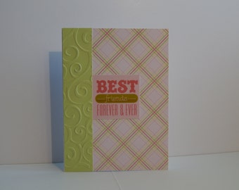 Best Friends Card, Green and Pink