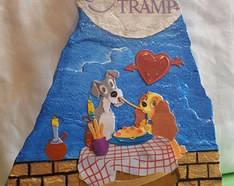 "Hand Crafted Disney's ""Lady and The Tramp"" Display Rock with Stand"