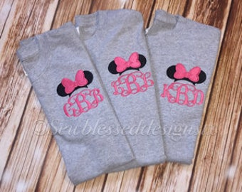 Monogrammed Tshirt* Monogram Shirt* Gifts for Her* Disney Family Shirt* Classic Minnie Ears* Disney Bound Shirt* Family Vacation Shirt*