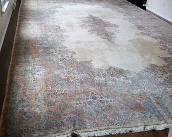 Palace Size Hand Made Wool Pile Rug Iran 12 X 20 Kirman Kerman Vgc
