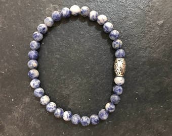 Blue Sodalite and 925 Silver Bracelet.  Approx 8 1/2 Inches