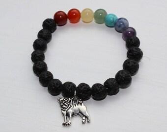 Rainbow Beaded Bracelet with Pug Charm