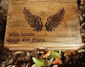 With Brave Wings She Flies Keepsake Box