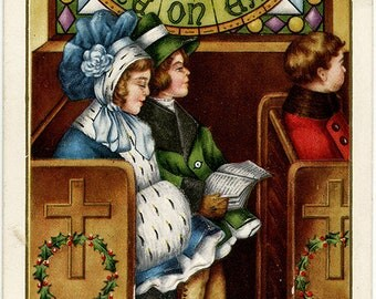 Vintage Holiday Embossed Postcard Children in Church Peace on Earth Stained Glass Window