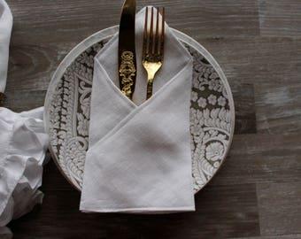 Set of 12 linen Silverware  - Table setting decor - White /Ivory Linen silverware - wedding silverware