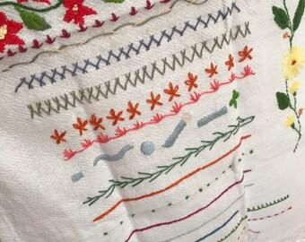 Handembroidered Dish Towel - Sticth Sampling