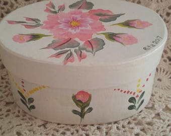 Hand painted oval box.