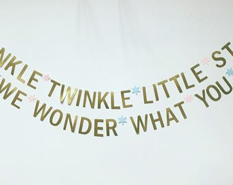 Twinkle twinkle little star, how we wonder what you are - baby shower/gender reveal banner