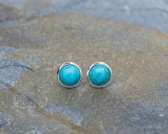 8mm Faux Turquoise in Silver Earring studs