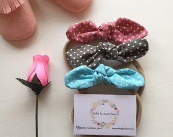 Polka dot top knot bow headband (single)