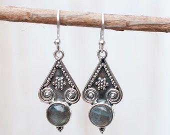 Labradorite Earrings ~ Sterling Silver 925 ~ Bohemian ~ Gemstone ~ Dangle ~ Handmade ~ Jewelry ~ Gift For Her ~ Maresia ~ Boho ME007