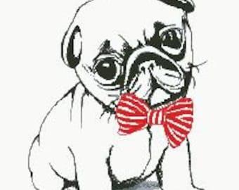 Cross Stitch Pattern Little Pug Dog PDF