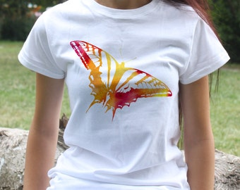 Butterfly Tee - Art T-shirt - Fashion women's apparel - Colorful printed tee - Gift Idea