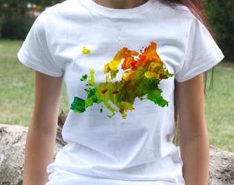 Europe Tee - Map T-shirt - Fashion women's apparel - Colorful printed tee - Gift Idea