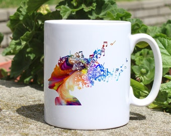 Notes mug - Music soul mug - Colorful printed mug - Tee mug - Coffee Mug - Gift Idea
