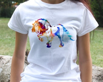 Horse T-shirt - Animal Tee - Fashion women's apparel - Colorful printed tee - Gift Idea