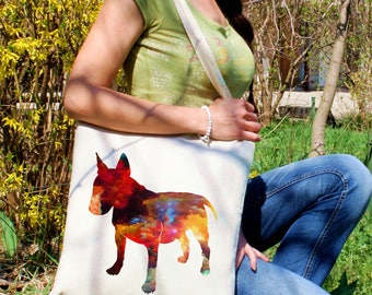 Bull terrier tote bag -  Bull terrier shoulder bag - Fashion canvas bag - Colorful printed market bag - Gift Idea