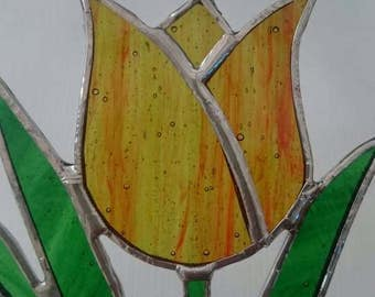 Tulip Stained Glass Suncatcher - Window or Wall Hanging Ornament - Flower Suncatcher - Gift for Her