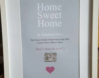Home Sweet Home, Personalised Family Home Print, New Home, Gift, Frame