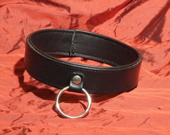 Leather collar with ring, genuine leather, padded, lockable, narrow
