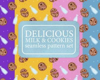 Set of delicious milk & chocolate cookies digital papers