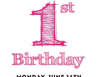 1st Birthday Pink Photo Card | Birthday Pink Photo Card | Birthday Invitation Card | Printable BIrthday Card