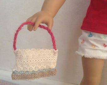 Crocheted/lace ribbon summer hand bag/tote - for 18 inch dolls or even any size doll