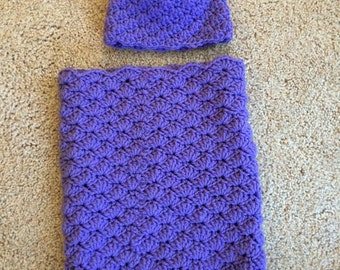 Crochet baby cacoon - purple