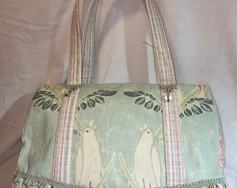 Pastel Linen Bird Tote with Beaded Trim
