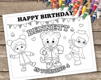 Daniel Tiger's Neighborhood Coloring Pages, Daniel Tiger Birthday Party, Daniel Party Activity, Daniel Tiger Personalized Coloring