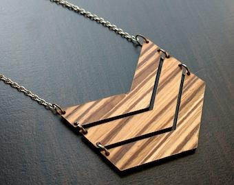 Laser Cut  Chevron Necklace
