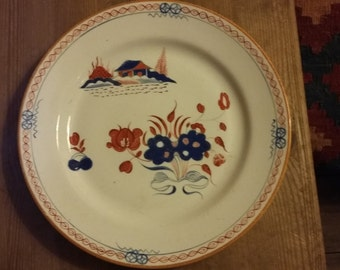 18th Century Dutch Delft Chinoiserie Polychrome Plate