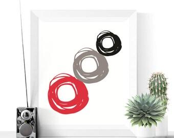 50% OFF Sale - Printable Art | Around and Around Printable | Black Red & Grey | Abstract Art | Modern Art | Circles | Colorful | Minimalist