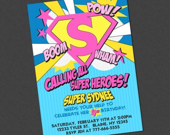 Girly Superhero Emblem Birthday Invitation