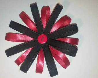 Red and black ribbon hair bow