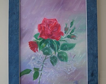 Rose in the Rain, original oil painting, blue frame, red flower