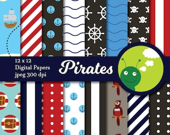 Digital paper pirates backgrounds